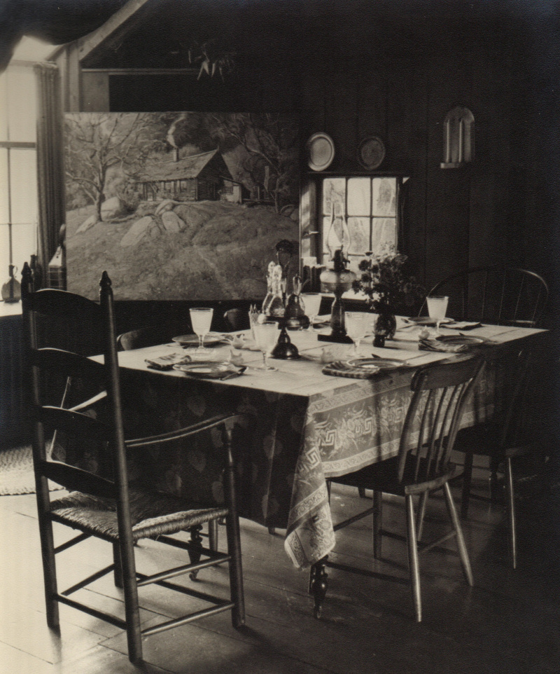 Photograph of the table set up in the studio for supper