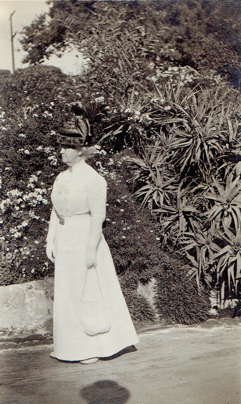 Mary Strong Woodward in a park